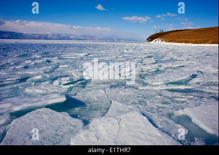 Russia, Siberia, Irkutsk oblast, Baikal lake, Maloe More (little sea), frozen lake during winter - Stock Photo