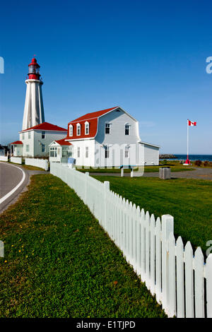 Lighthouse at Pointe-au-Père Maritime Historic Site,  Quebec, Canada - Stock Photo