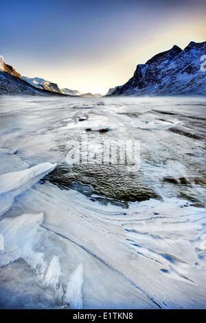 Sea ice Auyuittuq National Park, Pangnirtung, Nunavut, Canada - Stock Photo