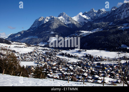 Europe, Switzerland, Vaud Canton, Chateau d'Oex city - Stock Photo