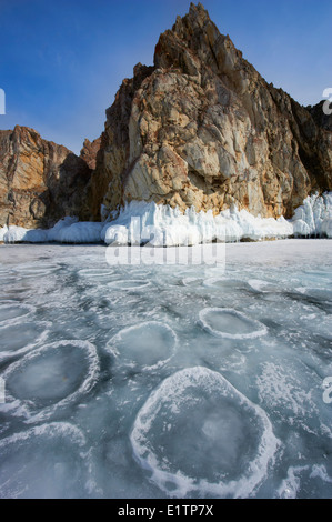 Russia, Siberia, Irkutsk oblast, Baikal lake, Maloe More (little sea), frozen lake during winter, Olkhon island - Stock Photo