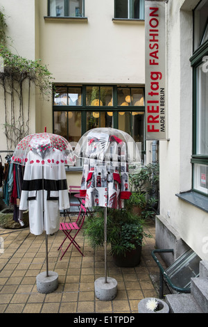 Exterior view of Freitag Fashion boutique in Hackerscher Markt courtyard in Berlin Germany - Stock Photo