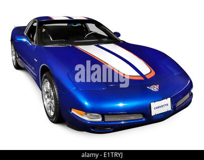 ... Blue 2004 Chevrolet Corvette C5 Sports Car Isolated On White Background    Stock Photo