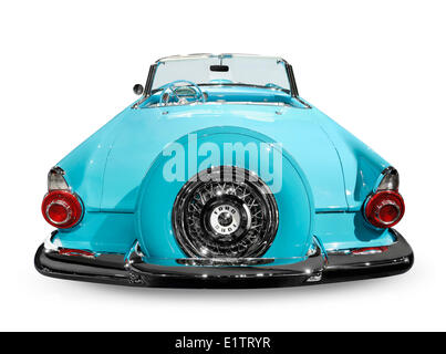 Blue 1956 Ford Thunderbird convertible isolated on white background - Stock Photo