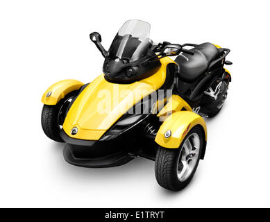 2009 BRP Can-Am Spyder Roadster three-wheeled vehicle. Isolated on white background. - Stock Photo