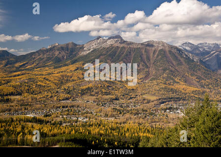 View of city of Fernie and Mount Fernie in autumn from Castle Mountain Trail, BC, Canada. - Stock Photo