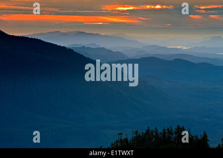 Aerial view over the scenic mountains for Northern Vancouver Island looking west during sunset, British Columbia, - Stock Photo