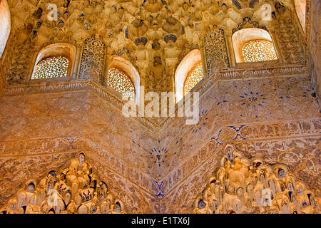 Intricate carvings on the ceiling archway in the Hall the Abencerrajes The Royal House The Alhambra City Granada Province