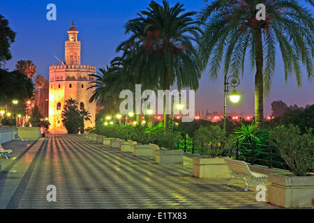 Torre del Oro (Tower of Gold) which also houses the Museo Maritimo along Paseo Alcalde Marques del Contadero at - Stock Photo