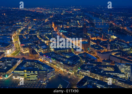 Aerial view over the City of Frankfurt am Main from Maintower at dusk, Hessen, Germany, Europe. - Stock Photo