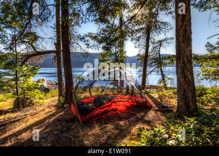 The evening sun shines through a kayaker's tent on Read Island located between Quadra Cortes Island British Columbia - Stock Photo
