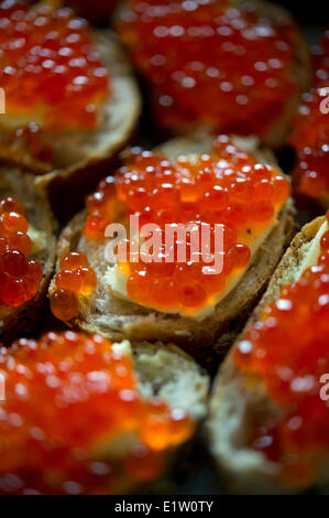 Red caviar sandwich placed in a plate on a table - Stock Photo