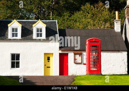 Small and colourful old buildings/houses in the coastal town of Plockton, Scotland. - Stock Photo