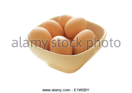 A bowl full of fresh hen eggs. Isolated on white with clipping path - Stock Photo