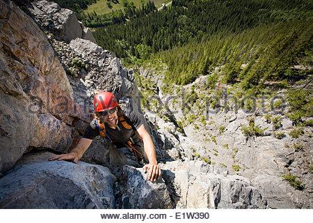 A Man Rock Climbing Banff National Park Alberta Canada Stock Photo Royalty Free Image