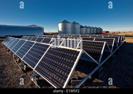 Solar panels on farm near Calgary, Alberta, Canada. - Stock Photo