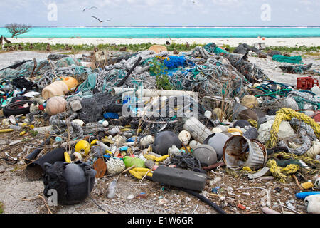 Plastic garbage collected research plot to assess plastic pollution Eastern Island Midway Atoll National Wildlife - Stock Photo