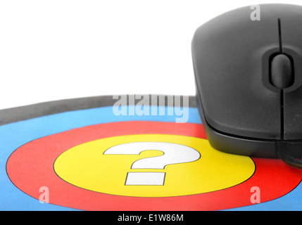 Help online. Question in center of target and mouse. - Stock Photo