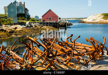Rusty anchors, Peggy's Cove, Nova Scotia, Canada - Stock Photo