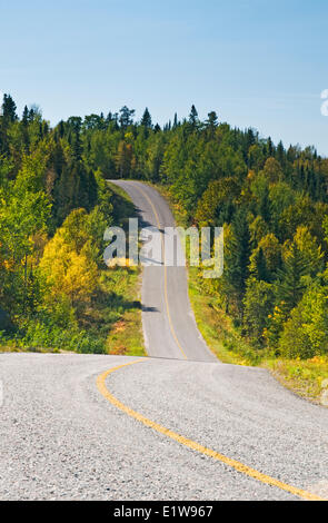 Paved road going through forest, Lake of the Woods, Ontario, Canada - Stock Photo