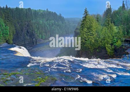 Kaministiquia River as it spills over Kakabeka Falls, Kakabeka Falls Provincial Park, Ontario, Canada - Stock Photo