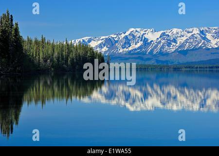 Kinaskan Lake and Coast Mountains, near Tatogga on the Stewart-Cassiar Highway, British Columbia, Canada - Stock Photo
