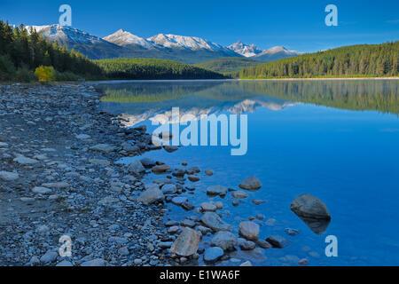 Patricia Lake and the Canadian Rocky Mountains, Jasper National Park, Alberta, Canada - Stock Photo