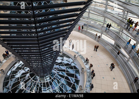 Interior of the Glass Dome of the Reichstag, Berlin, Germany - Stock Photo