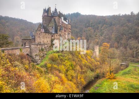 Eltz Castle in Autumn, Rhineland-Pfalz, Germany - Stock Photo