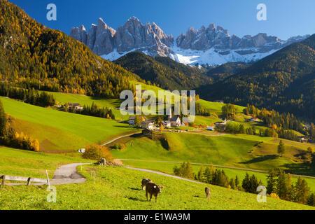 St. Magdalena, Val di Funes, Trentino Alto Adige, Dolomites, South Tyrol, Italy - Stock Photo