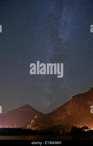 Milky Way above Waterton Lakes National Park, Alberta, Canada - Stock Photo