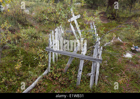 Old grave on the Nabesna Road in Wrangell - St Elias National Park & Preserve, United States of America - Stock Photo