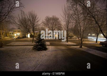 Suburban street at night. Oakville, Ontario, Canada - Stock Photo