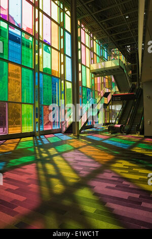 Interior of the Palais des Congres (Montreal Convention Centre) in Montreal, Quebec, Canada - Stock Photo