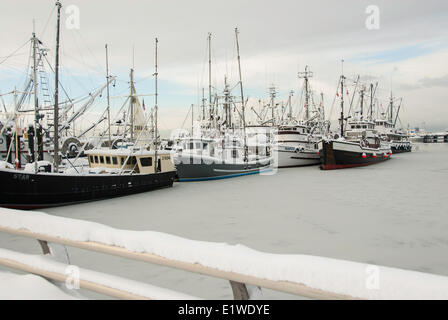 Fishing boats tied up for the winter freeze in Steveston Harbour, Steveston, Richmond, Metro Vancouver, British - Stock Photo
