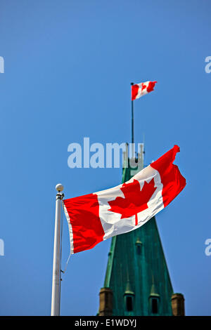 Peace Tower in the Centre Block the Parliament Buildings a Canadian National Flag Parliament Hill City Ottawa Ontario - Stock Photo