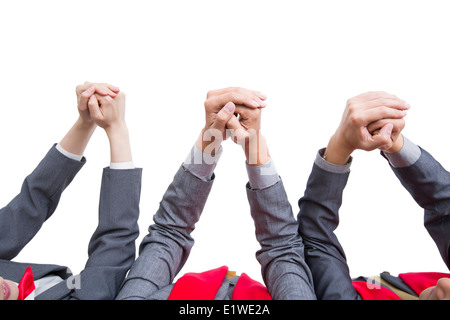 Business people offering traditional Chinese New Year greeting - Stock Photo