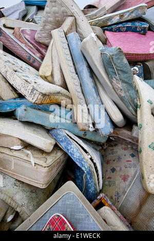 Former mattresses lie piled up ready for dispersal at a landfill near Cumberland in the Comox Valley.  Cumberland - Stock Photo