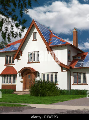Detached family house with solar panels on the roof powered by solar energy. Sustainable development renewable energy - Stock Photo