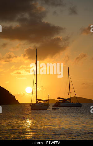 Sunset at The Bight, Norman Island, British Virgin Islands - Stock Photo