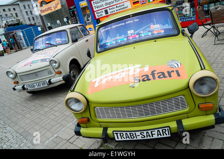 Trabi World guided tours by vintage East German Trabant cars in Berlin Germany - Stock Photo