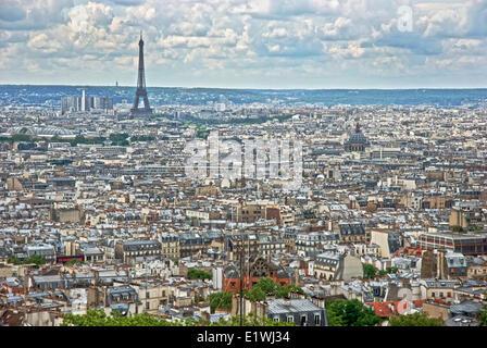 Paris skyline, view from Sacre Coeur basilica dome, Paris, France - Stock Photo