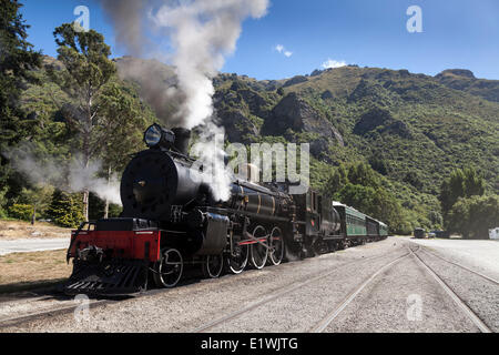 The Flyer - a working steam engine in Kingston on the South Island of New Zealand - Stock Photo