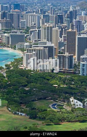 View of Waikiki tourist area of Honolulu from Diamond Head mountain - Stock Photo