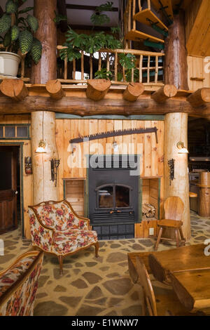 dining room table in a log house stock photo royalty free image