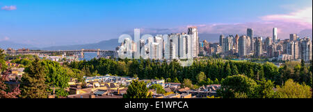 Panoramic water view of Vancouver from false creek. - Stock Photo