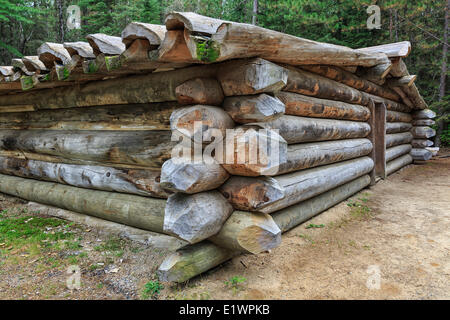Log Cabin for logging camp workers historically known as a 'camboose shanty' Algonquin Logging Museum Algonquin - Stock Photo