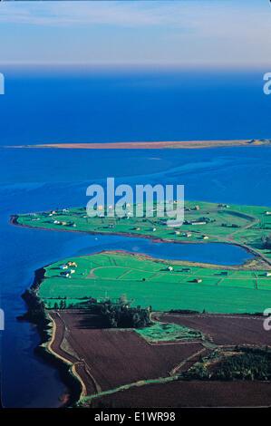 Aerial of Hebrides, New London Bay,  Prince Edward Island, Canada - Stock Photo