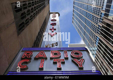 Low angle view of the marquee at Radio City Music Hall, New York City, New York, U.S.A. - Stock Photo