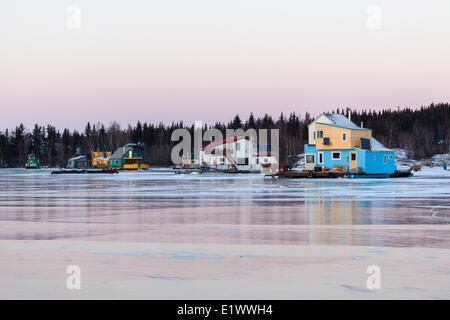 Giant Mine townsite and Aurora Borealis, Northwest Territories, Canada - Stock Photo